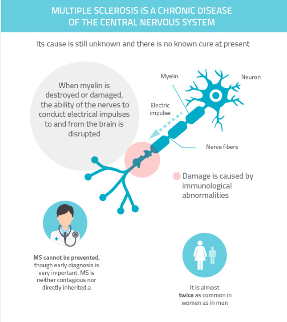 central nervous system diseases multiple sclerosis Multiple sclerosis (ms) is a disease of the central nervous system which leads to recurring attacks of neurological symptoms the deterioration in function is related to something termed demyelination.